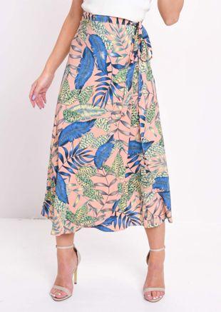 Jungle Leaf Print Wrap Thigh Split Midi Skirt Pink