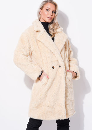 Double Breasted Teddy Brog Oversized Longline Coat Beige