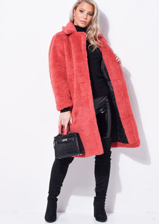 Double Breasted Teddy Brog Oversized Longline Coat Coral Pink