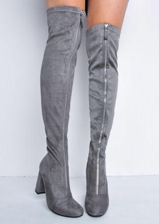 Knee High Faux Suede Front Metal Zip Long Boots Grey