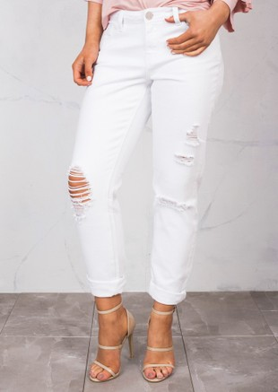Knee Ripped Detail Mom Jeans White
