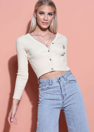 Knit Button Down Crop Top Beige
