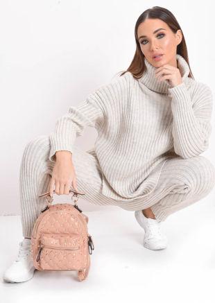Knit Roll Neck Loungewear Co ord Set Beige