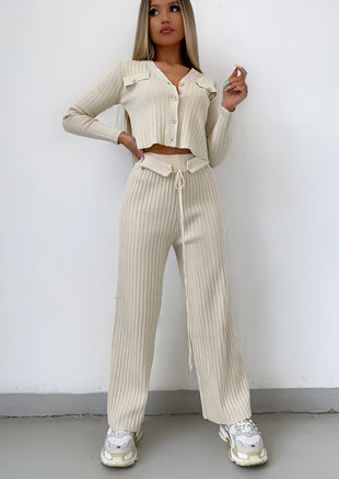 Knitted Loungewear Co-Ord Set Cardigan Crop Top Trousers Beige