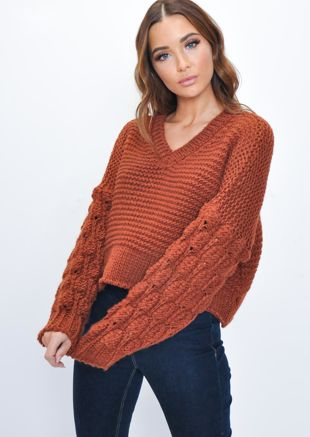 Knitted V Neck Wool Jumper Brown