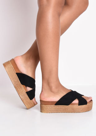 Braided Espadrille Look Cross Over Sliders Black