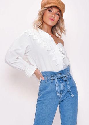 Lace Button Through Blouse Top White