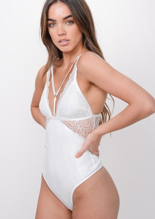Lace Harness Front Bodysuit White