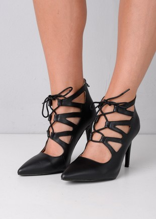 Lace Up Caged Stiletto Heels Black