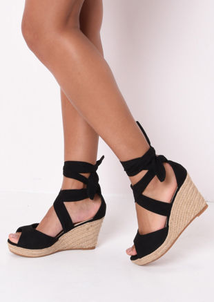 Suede Lace Up Espadrille Wedge Sandals Black