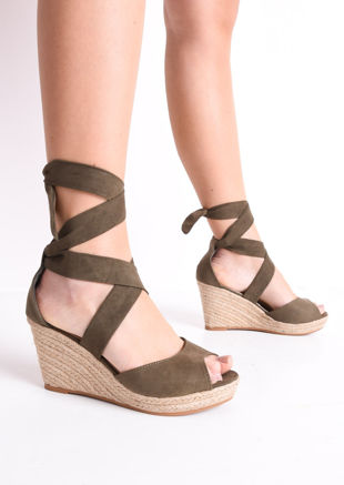f3d6c5148b34 Lace Up Espadrille Wedge Sandals Suede Khaki Green