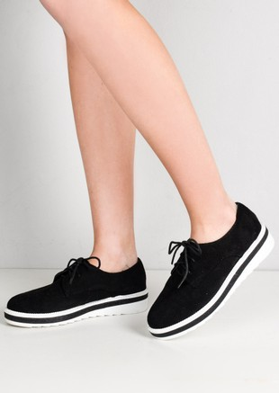 Lace Up Faux Suede Flatform Flats Black