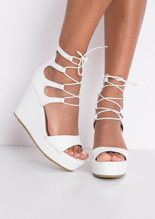 823c81fcc0b0 Faux Leather Lace Up Platform Wedge Heeled Sandals White