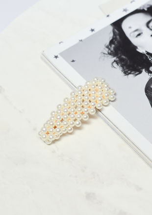 Large Faux Pearl Hair Clip Gold