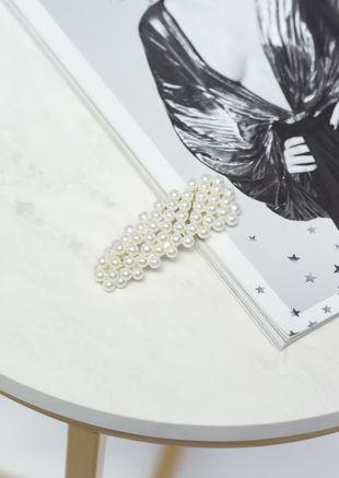 Large Faux Pearl Hair Clip Silver