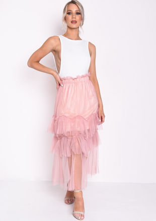 Layered Frill Trim Tulle Midi Skirt Pink