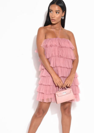 Layered Frill Tulle Halterneck Mini Dress Pink