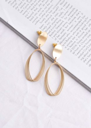 Layered Geometric Oval Drop Earrings Gold