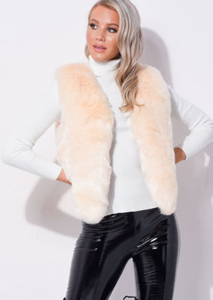 Faux Fur Faux Leather Crop Gilet Beige