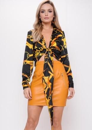 Leather Look Mini Skirt Mustard Yellow