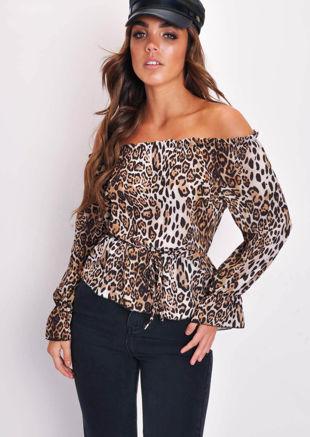 Leopard Print Bardot Ruched Frill Top Multi