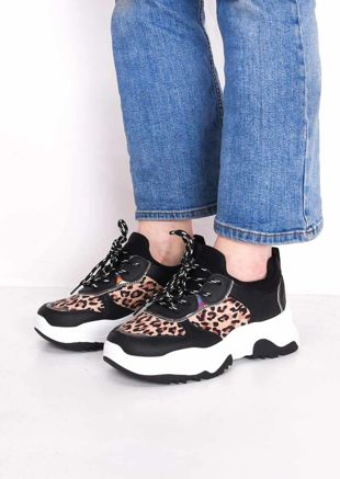 Leopard Print Chunky Iridescent Panel Lace Up Trainers Multi