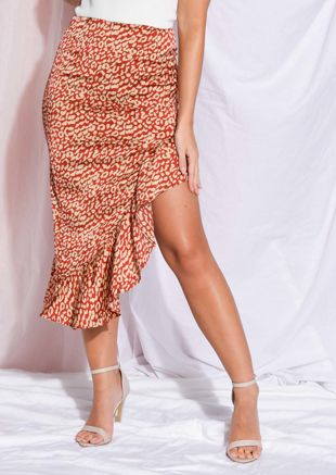 Leopard Print Frill Asymmetrical Skirt Red