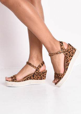 Leopard Print Platform Braided Cork Wedge Espadrille Sandals Brown
