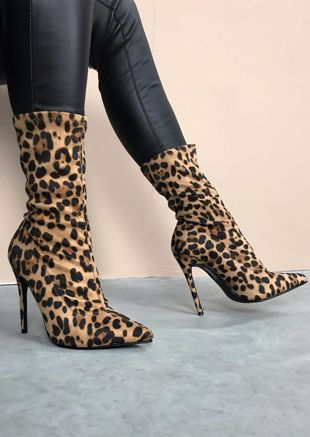 Leopard Print Pointed Stiletto Heeled Stretch Ankle Sock Boots Multi