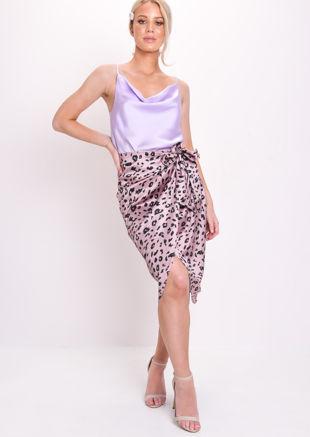 Leopard Print Satin Wrap Front Midi Skirt Pink