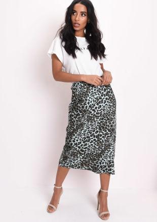 Leopard Print Silky Satin Midi Slip Skirt Green