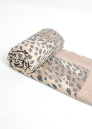 Leopard Print Soft Touch Border Scarf Beige