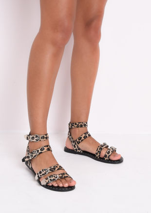 Leopard Print Studded Flat Sandals Brown