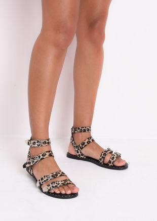 Leopard Print Studded Flat Sandals Brown