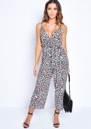 Leopard Print Tie Waist Wrap Front Jumpsuit Multi