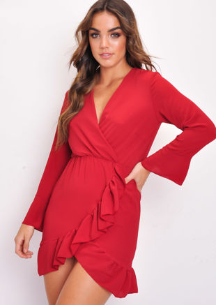 Long Flare Sleeve Frill Hem Wrap Dress Red