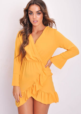 Long Flare Sleeve Frill Hem Wrap Dress Yellow