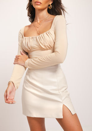 High Waisted Side Split Pu Mini Skirt Beige