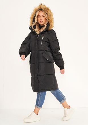 Longline Faux Fur Hooded Zip Up Panelled Puffer Coat Black