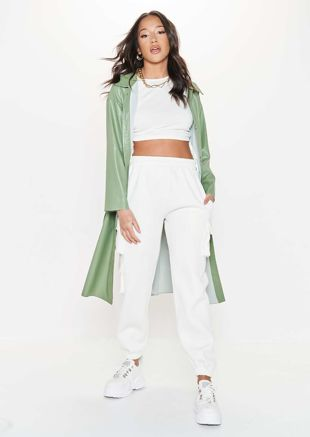 Faux Leather Longline Pu Belted Side Split Shacket Jacket Green