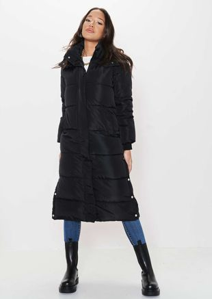 Oversized Longline Side Split Hooded Panelled Puffer Coat Black