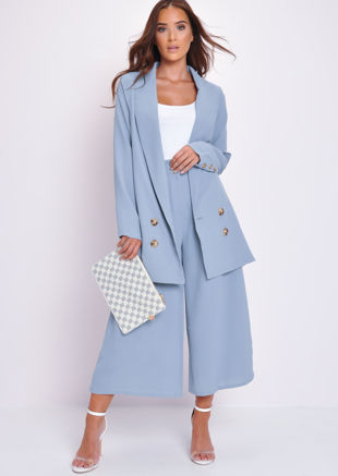 Longline Tailored Blazer Jacket Blue