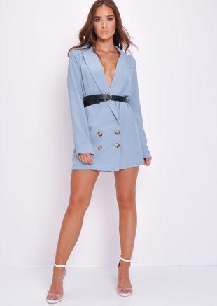 Longline Tailored Blazer Jacket Blue
