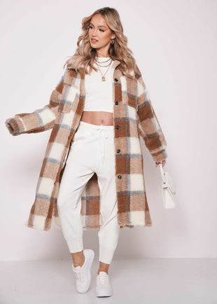 Longline Teddy Borg Checked Long Sleeve Shacket Coat Brown