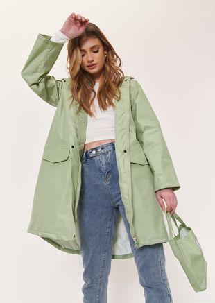 Oversized Longline Waterproof Rain Mac Coat Green