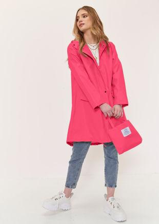 Oversized Longline Waterproof Rain Mac Coat Pink