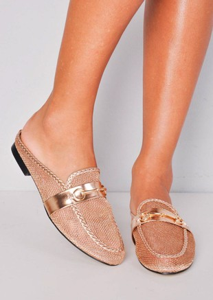 Mesh Slip On Backless Mule Loafers Gold