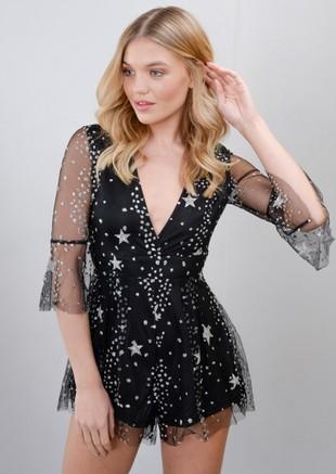 Frill Sleeve Plunge Mesh Star Glitter Playsuit Black