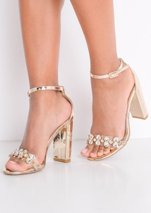 Metallic Embellished Perspex Strap Heeled Sandals Gold