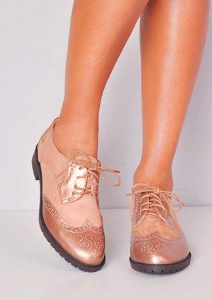 Metallic Faux Suede Contrast Lace Up Brogues Brown